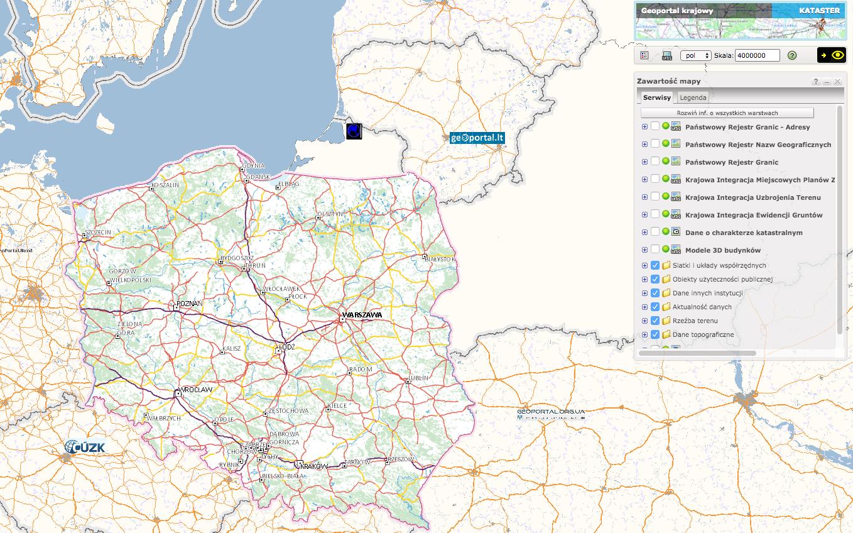 Geoportal krajowy - aplikacji mapowa z kompozycją kataster