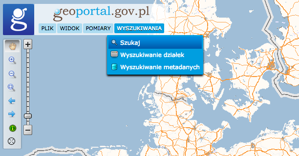 Geoportal krajowy - okno wyszukiwania lokalizacji działki w terenie.