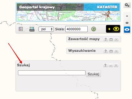 Geoportal krajowy - okno wyszukiwania miejscowości