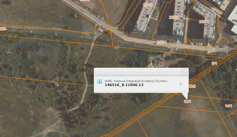 Geoportal krajowy - identyfikator działki na mapie.