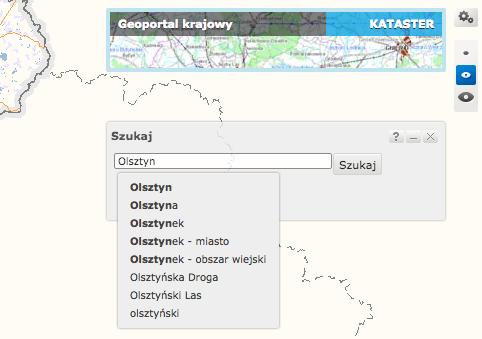 Geoportal.gov.pl – szczegółowe wyszukiwanie.