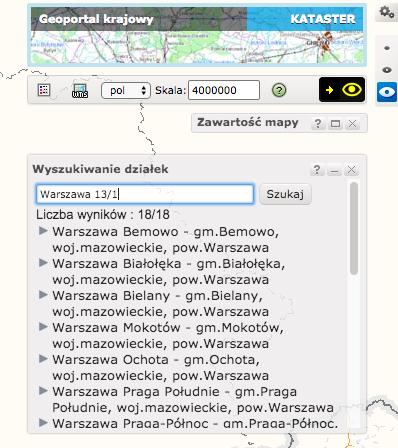 Geoportal - wyszukiwanie działki po podaniu miejscowości i numeru ewidencyjnego działki.