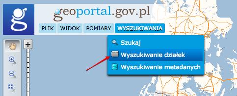 Geoportal - wyszukiwanie działek na mapie.
