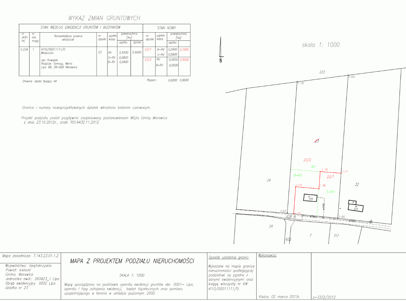Mapa z projektem podziału nieruchomości