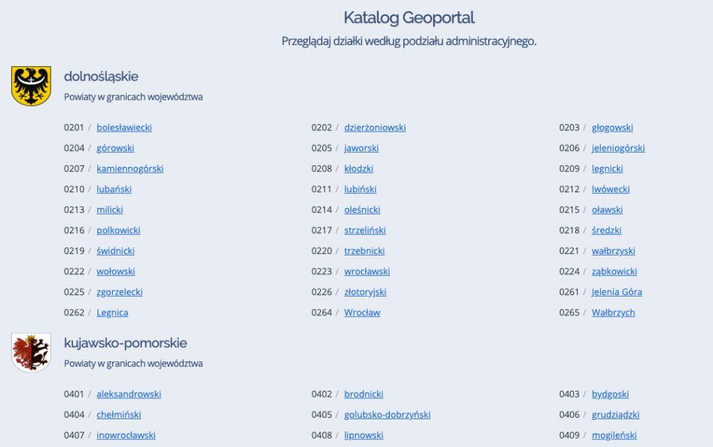 Mapa z numerami działek - katalog z podziałem administracyjnym.